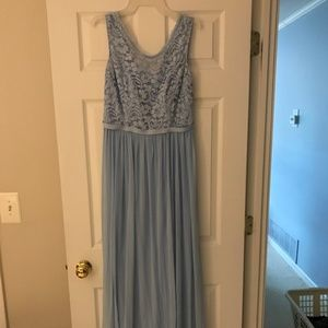 DB Bridesmaid Dress Ice Blue Long Lace F19328 sz10